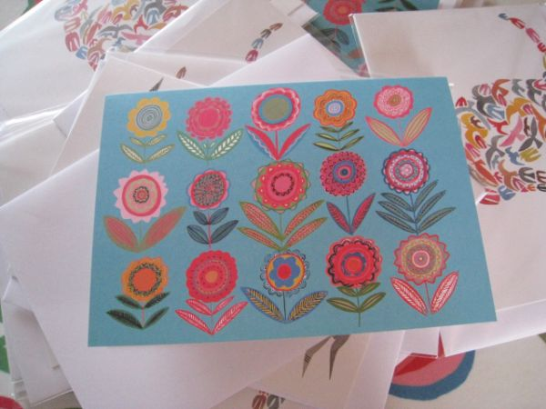 Cut Flowers Blue Greetings Card